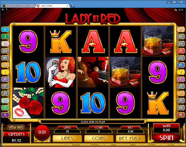 Lady in Red regular video slot Blackjack Ballroom online casino gambling