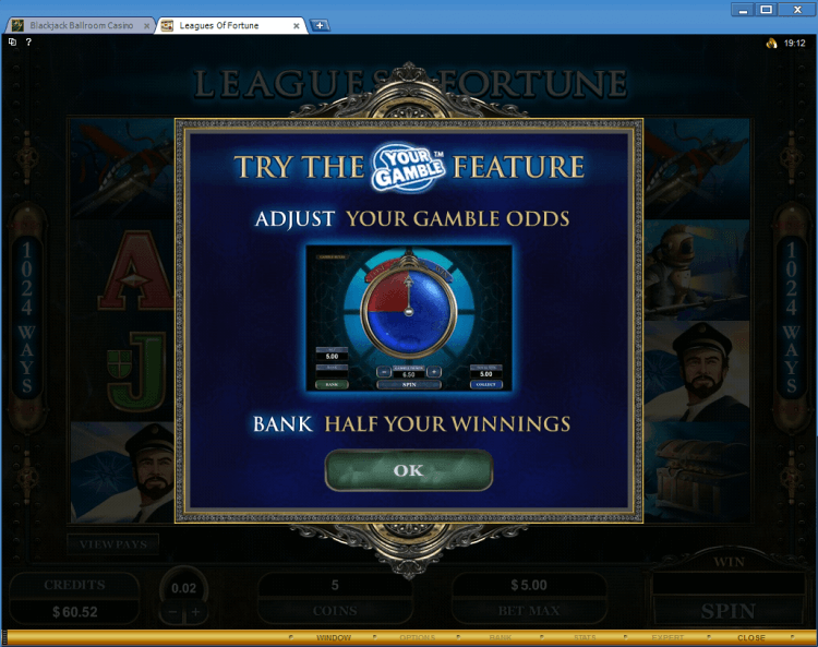 Leagues of Fortune bonus slot BlackJack Ballroom online casino application