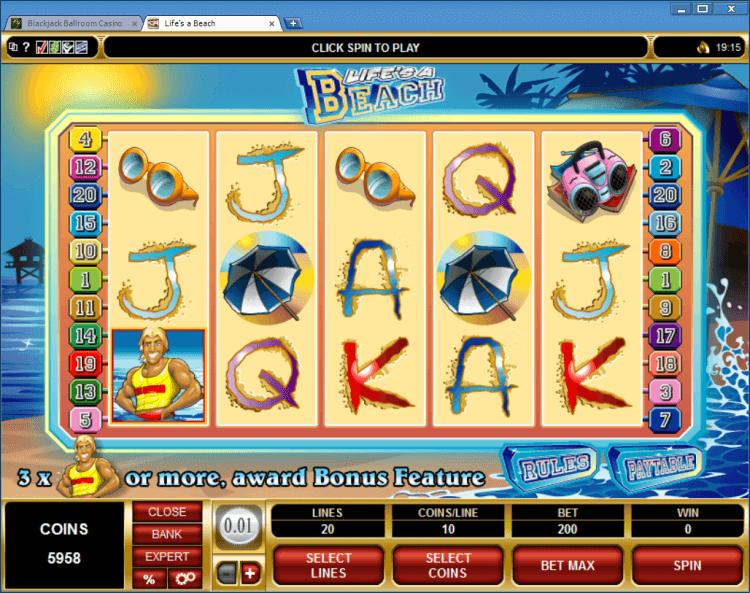 Life's a Beach bonus slot BlackJack Ballroom online gambling casino