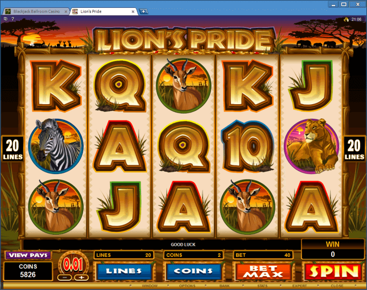 Lion's Pride regular video slot BlackJack Ballroom gambling online casino