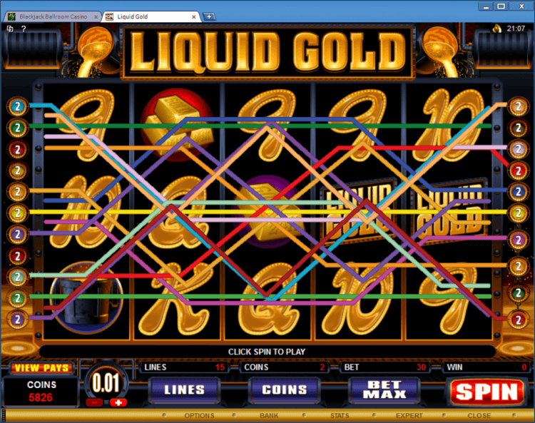 Liquid Gold bonus slot BlackJack Ballroom online casino application