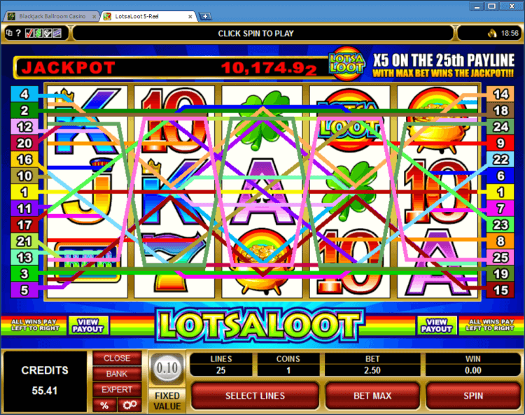 Lots a Loot progressive slot BlackJack Ballroom online casino application