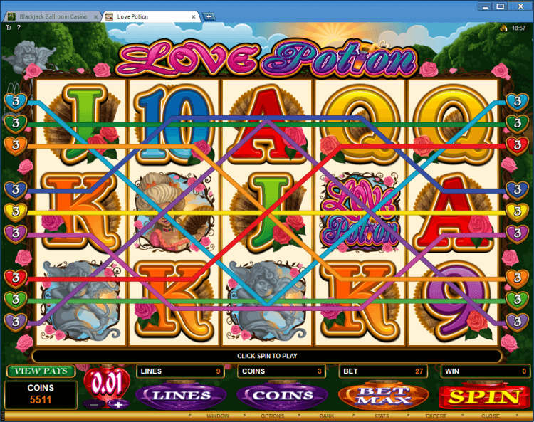 Love Potion bonus slot Blackjack Ballroom online casino gambling