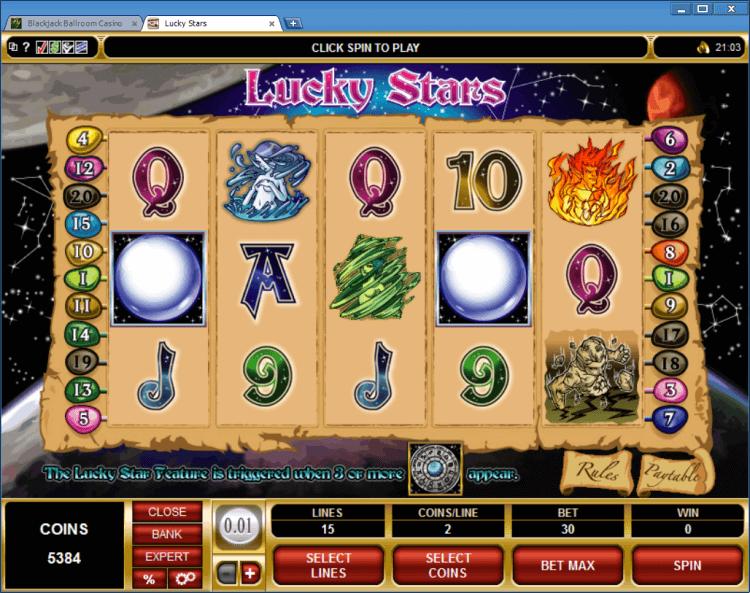 Lucky Stars bonus slot Blackjack Ballroom online casino gambling