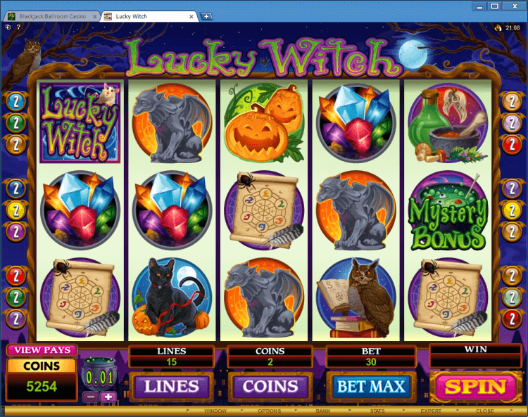Lucky Witch bonus game BlackJack Ballroom online casino app