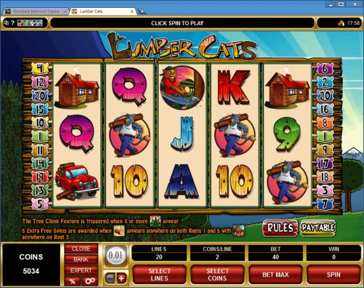 Lumber Cats bonus slot BlackJack Ballroom online gambling casino