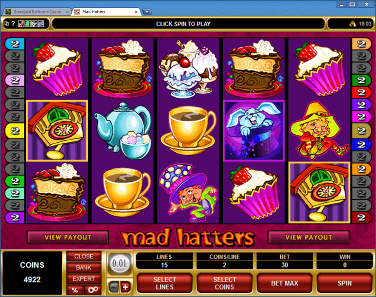 Mad Hatters bonus slot BlackJack Ballroom online gambling casino application