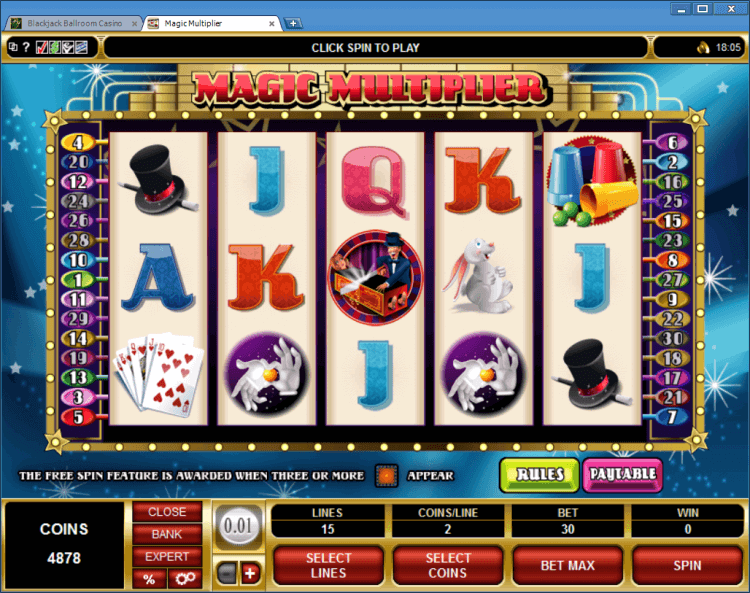 Magic Multiplier bonus slot BlackJack Ballroom online gambling casino
