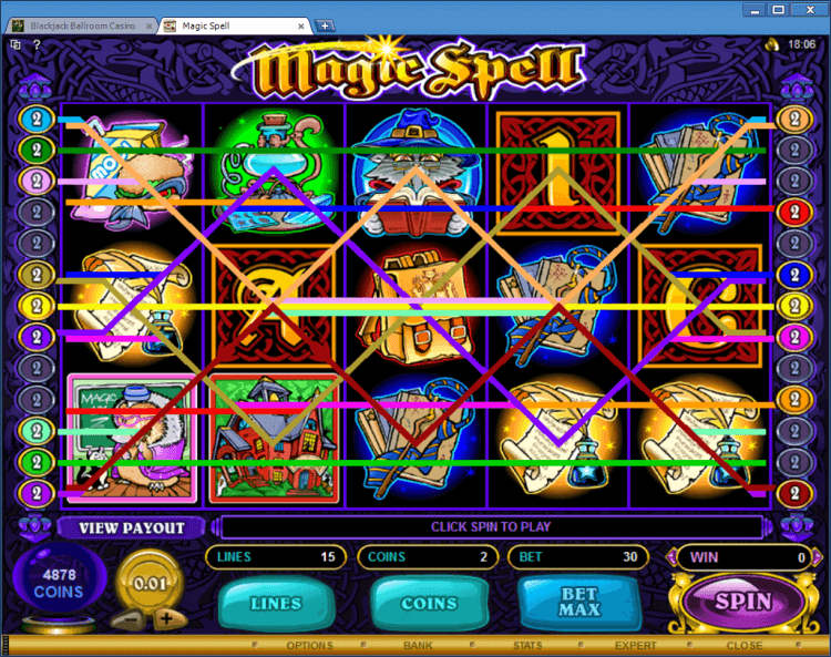 Magic Spell bonus slot BlackJack Ballroom online casino application