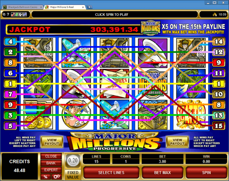 Major Millions progressive slot BlackJack Ballroom online gambling casino app