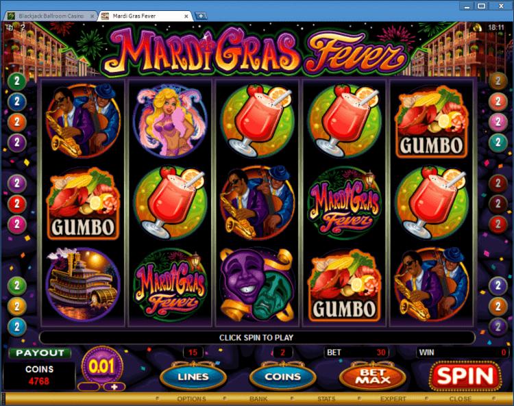Mardi Gras Fever bonus slot BlackJack Ballroom gambling online casino