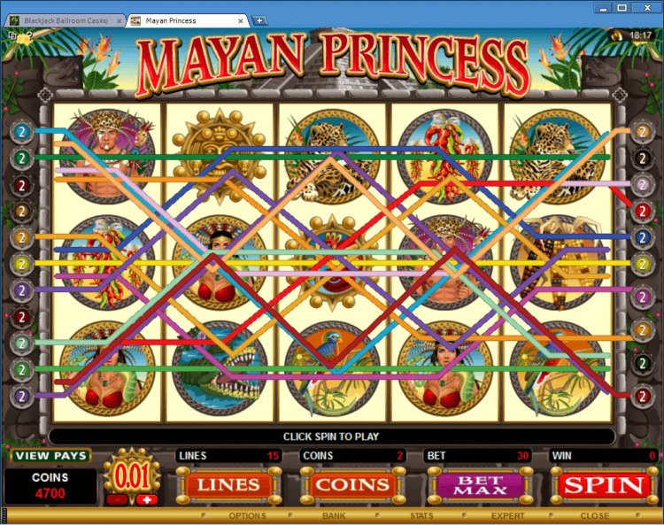 Mayan Princess regular video slot BlackJack Ballroom online casino gambling