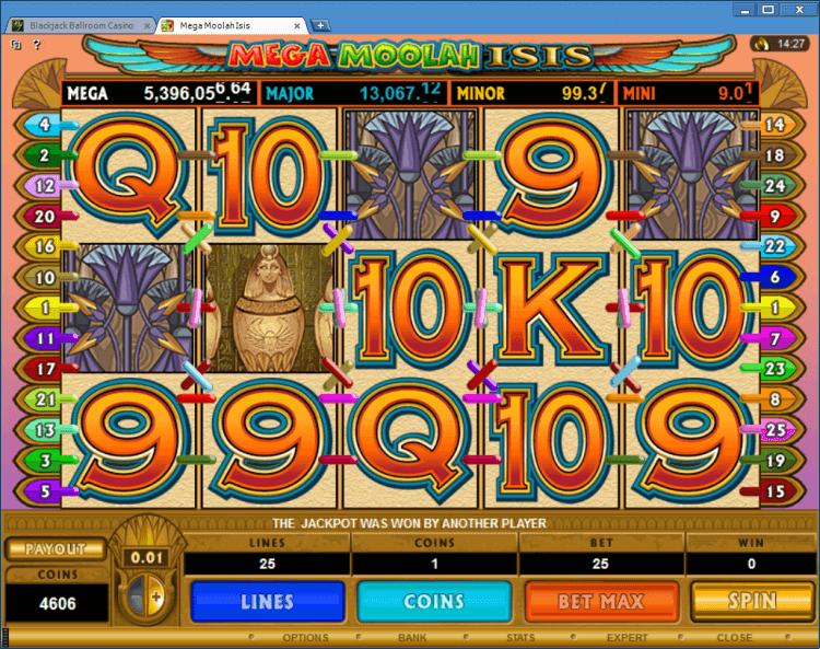 Mega Moolah Isis progressive slot BlackJack Ballroom online casino app