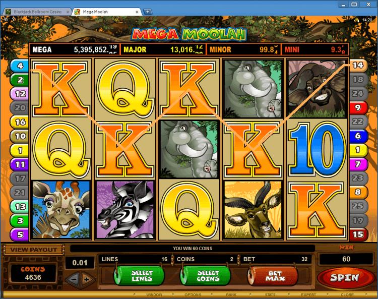 Mega Moolah progressive slot BlackJack Ballroom online casino gambling