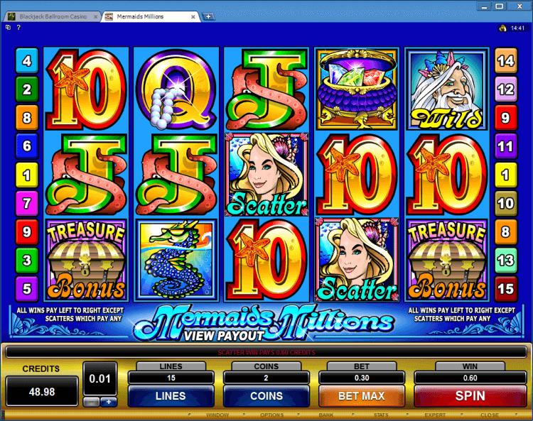 Mermaids Millions bonus slot BlackJack Ballroom online casino gambling