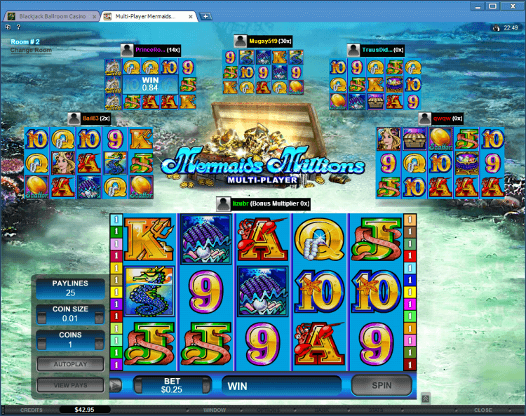 Mermaids Millions Multi-Player slot BlackJack Ballroom online gambling