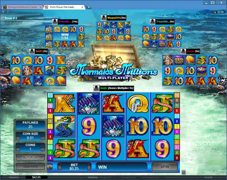 Mermaids Millions Multi-Player slot BlackJack Ballroom online gambling