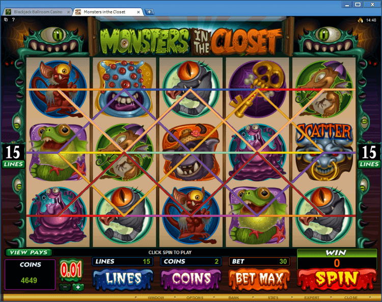 Monster in the Closet bonus slot MlackJack Ballroom online casino app