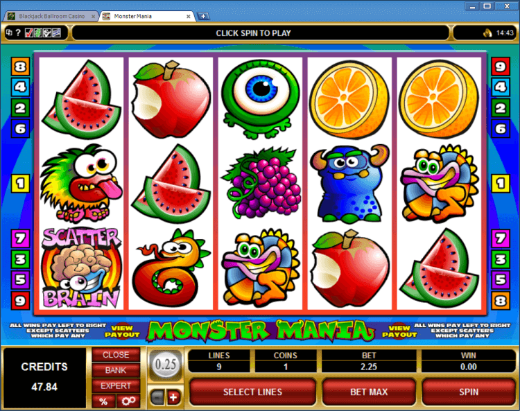 Monster Mania regular video slot BlackJack Ballroom online casino app