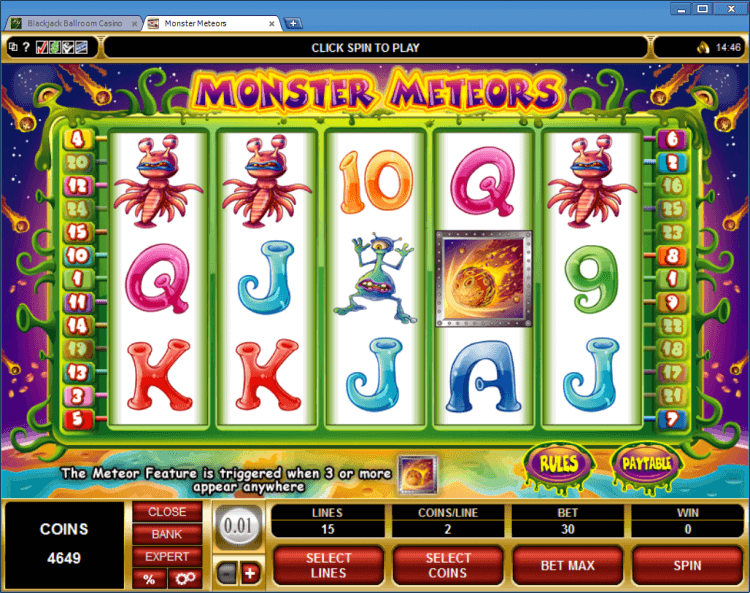 Monster Meteors bonus slot BlackJack Ballroom online gambling casino