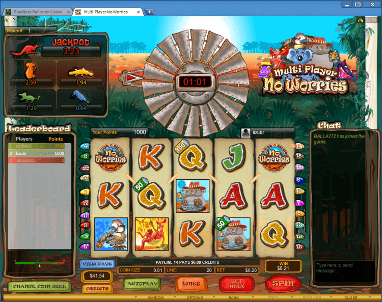 Multi-Player No Worries BlackJack Ballroom online casino gambling