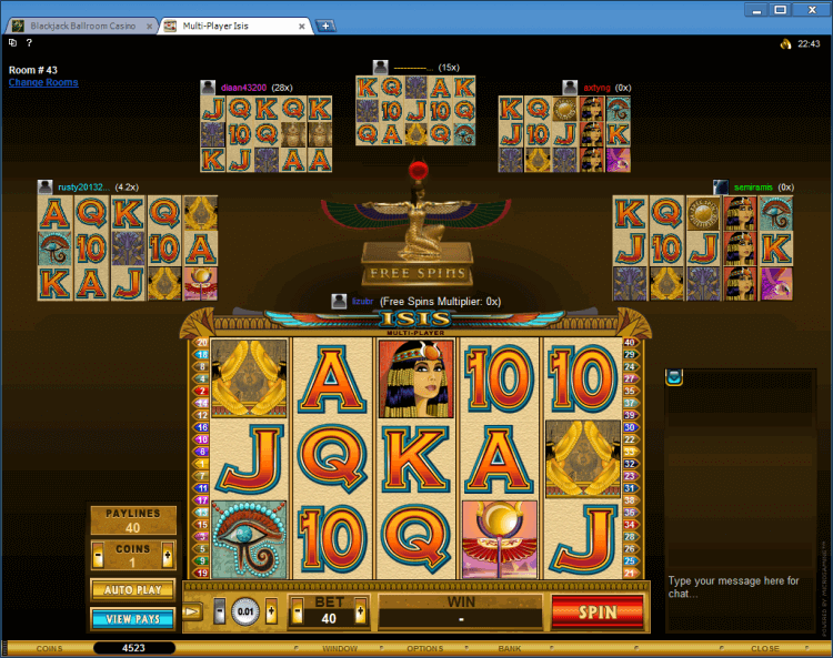 Multi-Player slot Isis BlackJack Ballroom online casino gambling
