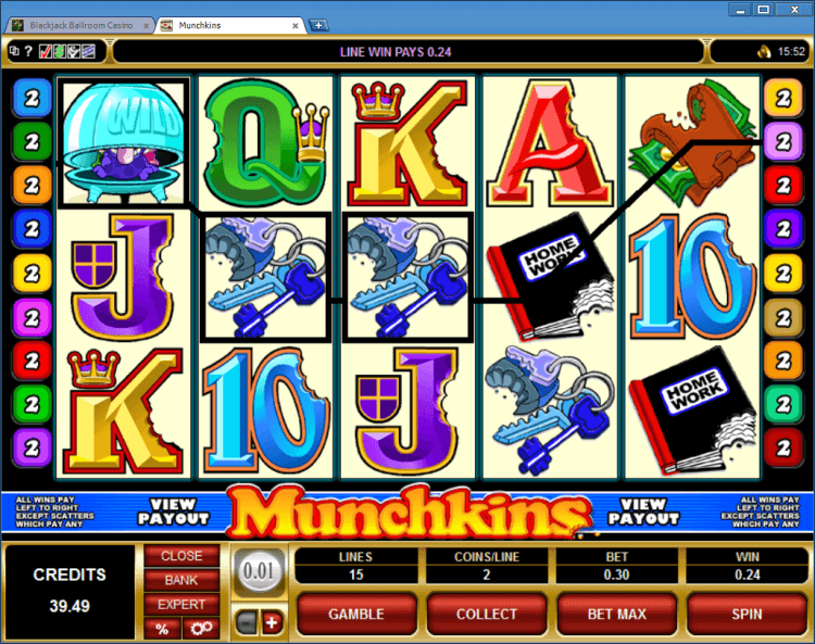 Munchkins regular video slot BlackJack Ballroom online casino gambling