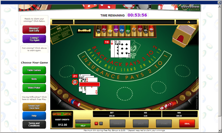 My nut hand at the Vegas Strip BlackJack online casino game