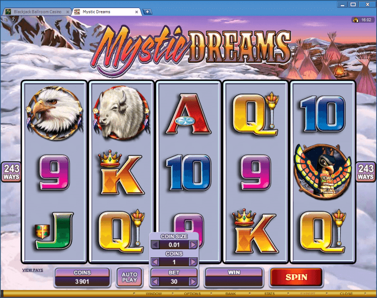 Mystic Dreams bonus slot BlackJack Ballroom online casino app