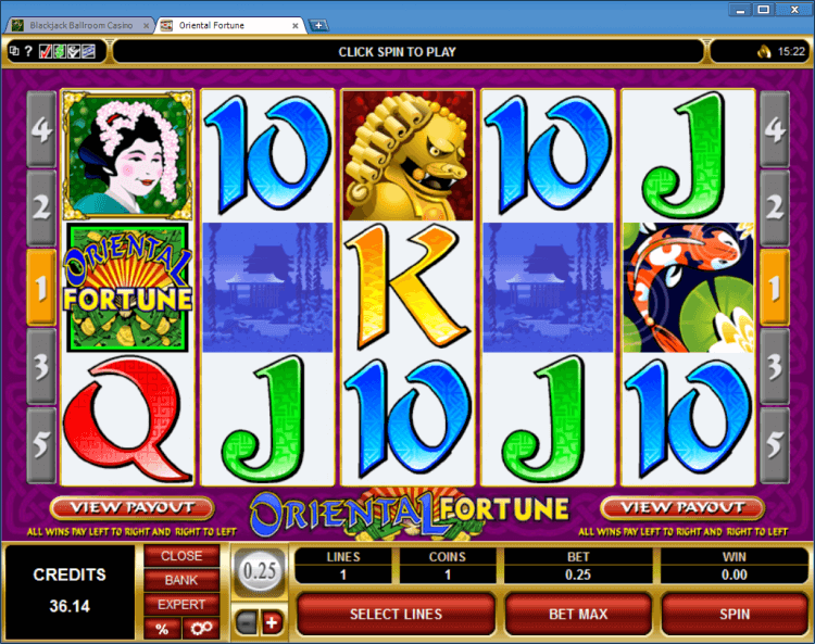 Oriental Fortune regular video slot BlackJack Ballroom online casino gamble