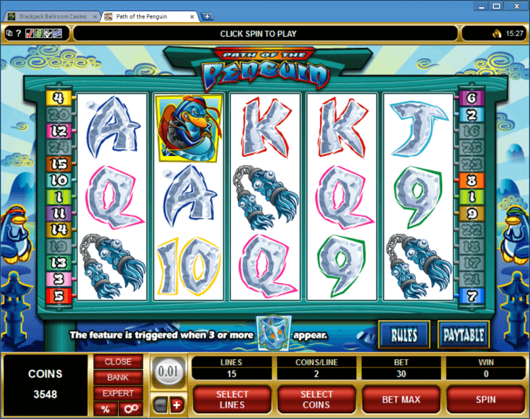 Path of the Penguin bonus slot BlackJack Ballroom online casino app