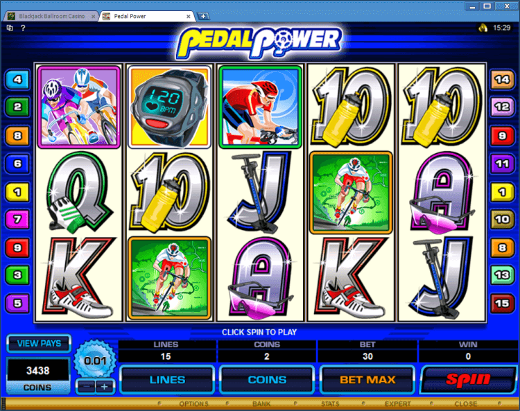 Pedal Power bonus slot BlackJack Ballroom online casino gambling