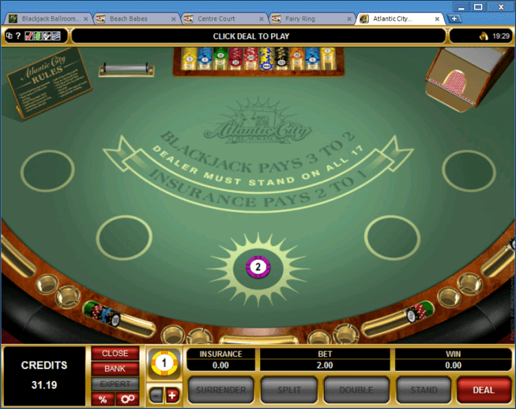 Playing Classic BlackJack and Atlantic City BlackJack at Ballroom online casino