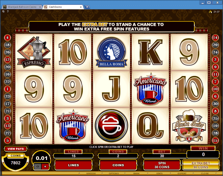 Regular Video Slot CashOccino application BlackJack Ball room