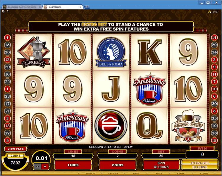 Regular Video Slot CashOccino application BlackJack Ball room