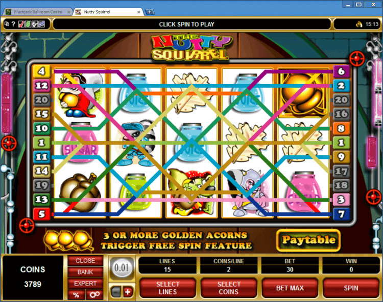The Nutty Squirrel regular video slot BlackJack Ballroom online casino gambling